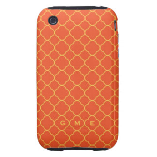 Quatrefoil clover pattern orange yellow 3 monogram tough iPhone 3 cases