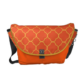 Quatrefoil clover pattern orange yellow fashion messenger bags