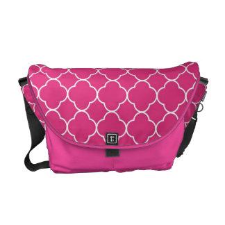 Quatrefoil clover pattern pink white fashion messenger bags