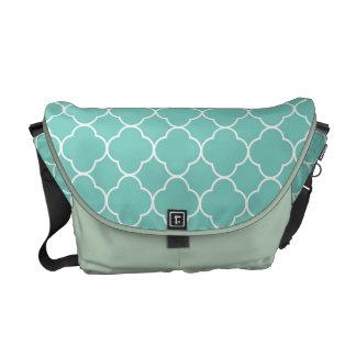 Quatrefoil clover pattern teal blue fashion courier bags