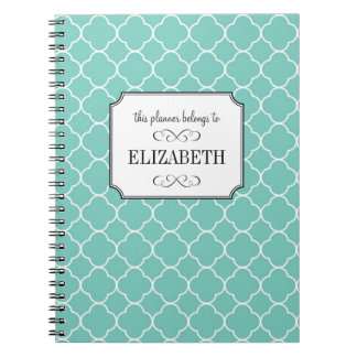 Quatrefoil clover pattern teal wedding planner spiral note book