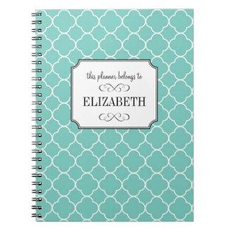 Quatrefoil clover pattern teal wedding planner notebook