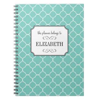 Quatrefoil clover pattern teal wedding planner spiral notebook