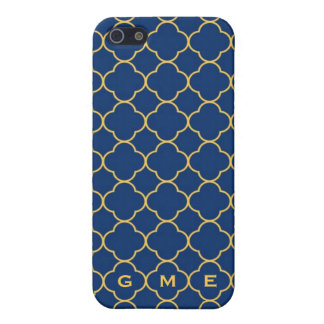 Quatrefoil clover pern navy yellow 3 monogram iPhone 5 case