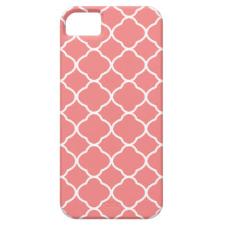 Quatrefoil Coral Pink Pattern iPhone 5 Case
