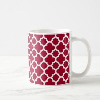 Quatrefoil crimson and white pattern basic white mug