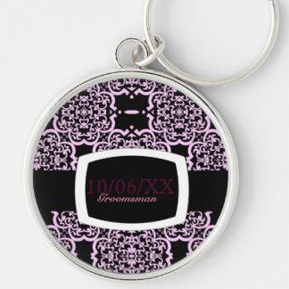 Quatrefoil Damask (Pink) (Wedding) Silver-Colored Round Key Ring