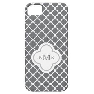 Quatrefoil Dark Gray Chic Pattern Stylish Monogram iPhone 5 Covers