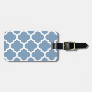 Quatrefoil Dusk Blue Bag Tag