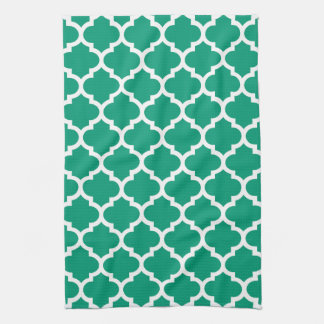 Quatrefoil Emerald Green Kitchen Towels