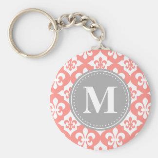 Quatrefoil Fleur-De-Lis Coral Pink Grey Monogram Key Chains
