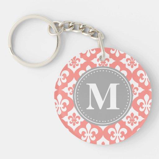 Quatrefoil Fleur-De-Lis Coral Pink Grey Monogram Keychains
