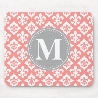 Quatrefoil Fleur-De-Lis Coral Pink Grey Monogram Mouse Mat