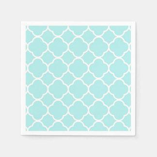 Quatrefoil geometric modern elegant blue disposable serviette
