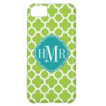 Quatrefoil Green and White Pattern Monogram iPhone 5C Cases