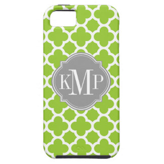 Quatrefoil Green and White Pattern Monogram iPhone 5 Cover