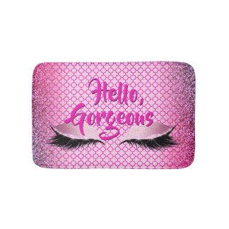 Quatrefoil Hello Gorgeous Makeup Girly Pink Bath Mat