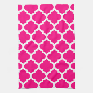 Quatrefoil Hot Pink Kitchen Towels