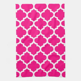 Quatrefoil Hot Pink Kitchen Towels