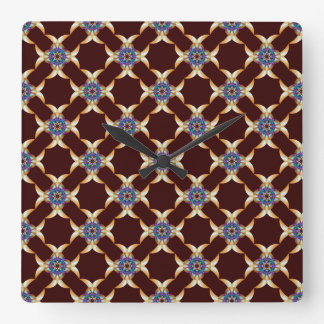 Quatrefoil in Blue and Gold Wall Clock