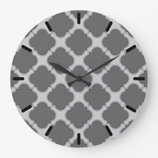 Quatrefoil in shades of gray large clock