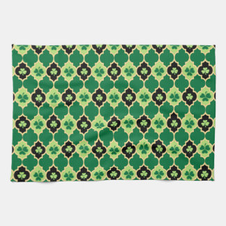 Quatrefoil Irish Shamrocks Hand Towels