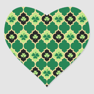 Quatrefoil Irish Shamrocks Heart Sticker