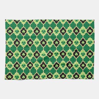 Quatrefoil Irish Shamrocks Tea Towel