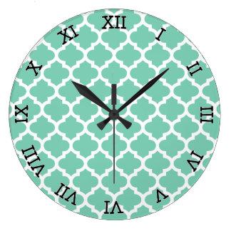 Quatrefoil Lattice Trellis Pattern Any Color Large Clock