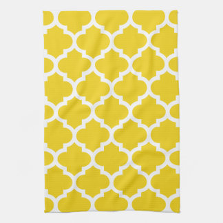 Quatrefoil Lemon Yellow Kitchen Towels