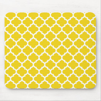 Quatrefoil Lemon Yellow Mouse Mat