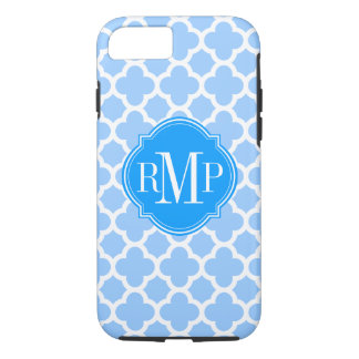 Quatrefoil Light Blue and White Pattern Monogram iPhone 8/7 Case