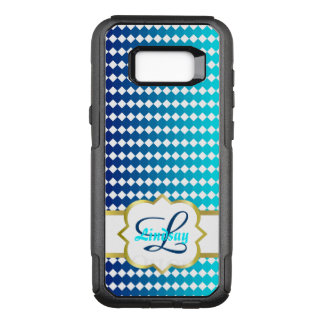 Quatrefoil monogram and blue squares pattern OtterBox commuter samsung galaxy s8+ case