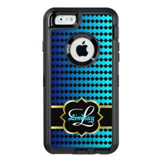 Quatrefoil monogram and blue squares pattern OtterBox defender iPhone case