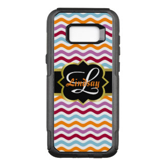 Quatrefoil monogram and colorful retro waves OtterBox commuter samsung galaxy s8+ case