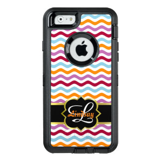 Quatrefoil monogram and colorful retro waves OtterBox defender iPhone case