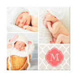 Quatrefoil Monogram Baby Photo Collage Nursery Art