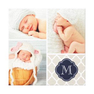 Quatrefoil Monogram Baby Photo Collage Nursery Art Canvas Print