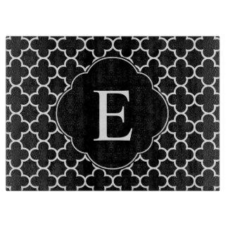 Quatrefoil Monogram Classic Black White Cutting Board
