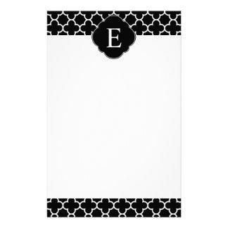 Quatrefoil Monogram Classic Black White Stationery
