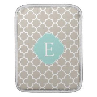 Quatrefoil Monogram Tan Mint iPad Sleeves