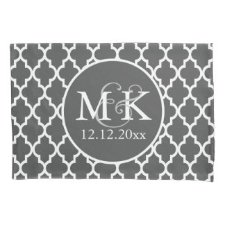 Quatrefoil Monogrammed Wedding Grey and White V2 Pillowcase