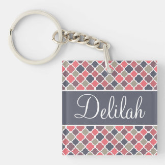 Quatrefoil Name Pink Purple Gray Single-Sided Square Acrylic Key Ring