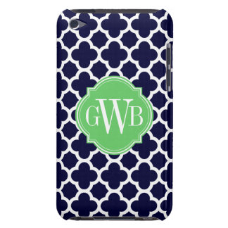Quatrefoil Navy Blue and White Pattern Monogram iPod Touch Case-Mate Case