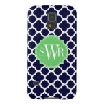 Quatrefoil Navy Blue and White Pattern Monogram Samsung Galaxy Nexus Covers
