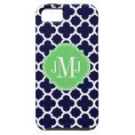 Quatrefoil Navy Blue and White Pattern Monogram iPhone 5 Case