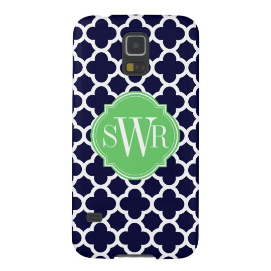 Quatrefoil Navy Blue and White Pattern Monogram Case For Galaxy S5