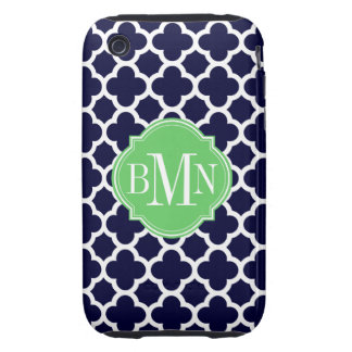 Quatrefoil Navy Blue and White Pattern Monogram iPhone 3 Tough Cover
