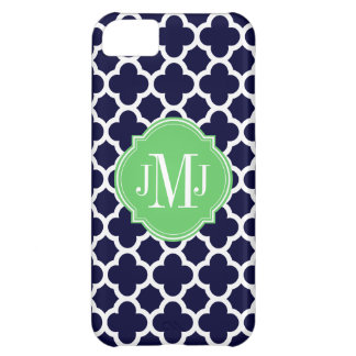 Quatrefoil Navy Blue and White Pattern Monogram iPhone 5C Case