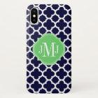 Quatrefoil Navy Blue and White Pattern Monogram iPhone X Case